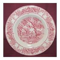 Lovely Red Transferware Soup Plate, RURAL SCENES, Clarice Cliff