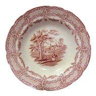 Red Transferware Soup Plate, Humphrey's Clock, Ridgways