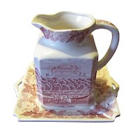 Lovely Red Transferware Pitcher & Tray, Unmarked