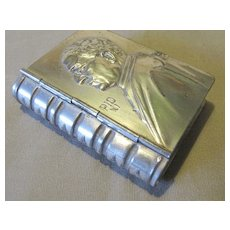 Vintage Tiny Shiny Tin Box, Book Shaped, Pope Pius XI