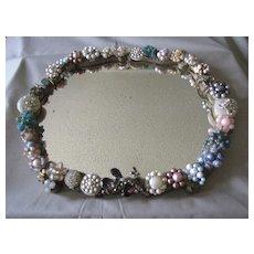 Wonderful Folk Art Oval Mirror, 50's Clip Ear Clips