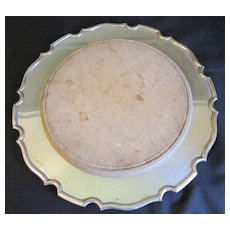 Vintage Bread Board in Silver-Plate Serving Plate, Unmarked