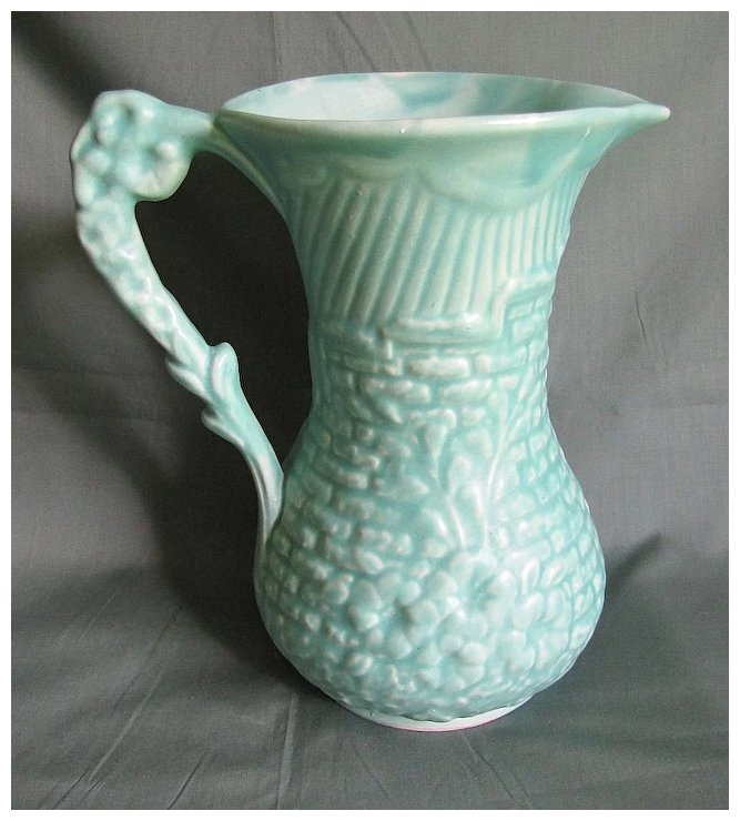 Vintage Green Pottery Pitcher Vase Arthur Wood England Judys