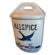 1920-30 BlueBird-Delft Spice Canister, YVONNE, Czechoslovakia, ALLSPICE