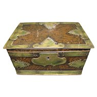 Nice Early Tin Trunk, Faux Wood & Brass Campaign Style, Bassett