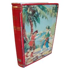 1950's Chad Valley English Book Toffee Tin Bank, Treasure Island PIRATES
