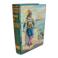 1950's Chad Valley English Book Toffee Tin Bank, WESTWARD HO
