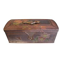 Early British Biscuit Tin, Wyllie Barr & Ross, Glasgow, Wild Roses & Butterflies