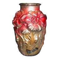 Puffy Poppy Goofus Glass Vase