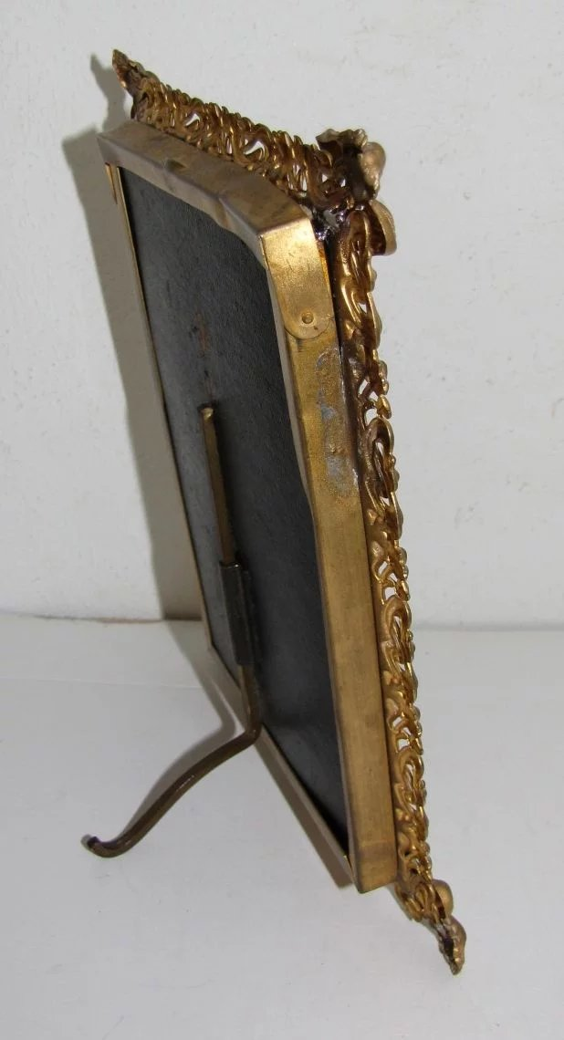 Antique Stamped Brass Brass Table Top Photograph Frame