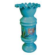 Lovely Blue Opaline Blue Bristol Glass Vase, Enameled Flowers