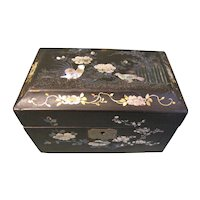 Lovely Papier Mache Black Lacquer Tea Caddy, MOP Birds & Flowers