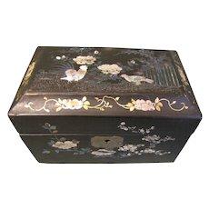 Lovely Papier Mache Black Lacquer Tea Caddy, MOP Birds & Flowers