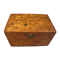 Nice Design, Early Pyrography Letter Box, Flemish Art