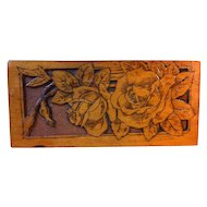 Wonderful Deeply Burned and Carved Rose Flemish Art Plaque, Pyrography