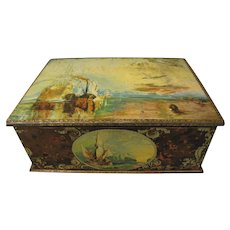 Large British Biscuit Tin, MacFarlane Lang, Turner Paintings, ca 1935