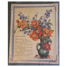 """Vintage Mother Motto, Poppies & Delphiniums """"MOTHER DEAR"""""""