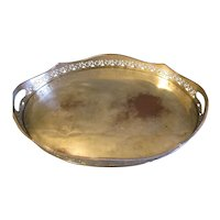 Large Vintage Extraordinary Oval Silverplate Tray, Pierced Decoration