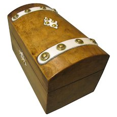Lovely Antique Rosewood Tea Caddy, Casket Shape, Domed Top