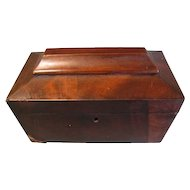 Lovely Casket Shaped Mahogany Tea Caddy