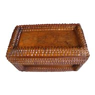 Nice Antique Tramp Art Box, Chip Carved, Cigar Box Advertising
