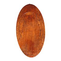 Vintage Pyrography (Flemish Art) Oval Wall Plague, Cat