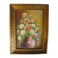 Lovely Oil Painting of Pink Wild Roses and Snow Balls in Vase, E. Donaty