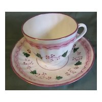 Lovely Early 19th Century English Pink Lustre Cup & Saucer, 4 Available