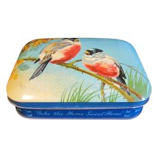 Lovely Vintage Blue Bird Toffee Tin, Vivid Blue Color, Two Birds