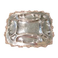 Large Vintage SilverPlate Serving Tray, Marked Silver on Copper