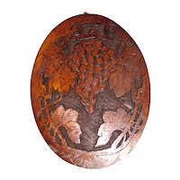 Lovely Flemish Art Wood (Pyrography) Plaque, Grapes