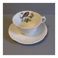 Lovely Ironstone Cup & Saucer, Royal Cauldon, Pine Grosbeak