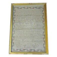 Lovely Framed 19th Century Alphabet Sampler, ANN KIRKBY, Aged 12