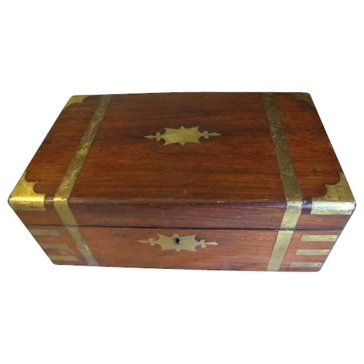 Lovely Antique Campaign Writing Box Lap Desk