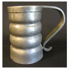 Vintage Pewter Mug, Round Ribs, Marked B