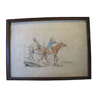 "C. 1821 Colored Engraving Henry Alken ""Symptoms of Things Going Down Hill"""