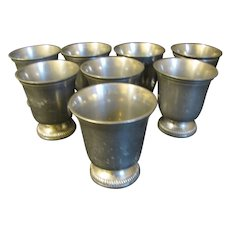 Set of 8 Small French Pewter Beakers, ETAIN d'Art