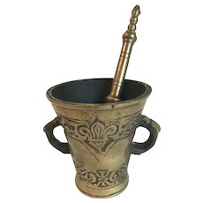 Vintage Brass Apothecary Mortar and Pestle