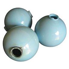 Beautiful Blue Milk Glass Lightning Rod Balls, Group of 3