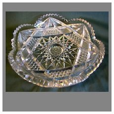 "Circa 1900 American Brilliant Cut Glass Bowl, 8"", Not Signed"