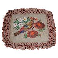 Gorgeous Victorian Beadwork Table Doily Bird & Roses
