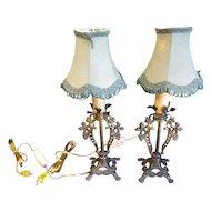 Lovely Vintage Metal Lamps, Pair