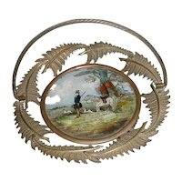 Wonderful French Brass Basket w/ Reverse Painting Hunt Scene