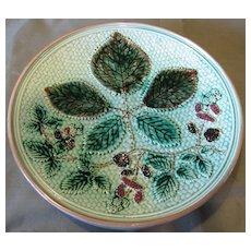 Lovely Turquoise Majolica Plate, Blackberries