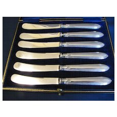Vintage Silver Tea or Dessert Knives, Boxed Set of 6