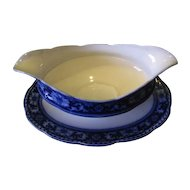 Lovely Flow Blue Gravy Boat, Attached Underplate, GLENMORE, W.H. GRINDLEY