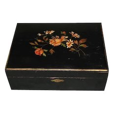 Lovely Early Sewing Box, Black Lacquer w/Floral Design, Presentation