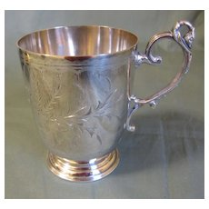 Lovely Silver Plate Baby Mug (Cup) Engraved, J.S. McNab