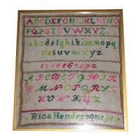 Colorful Framed Under Glass Sampler RICA HENDERSON 1910