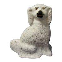 Large Single White Staffordshire Dog (Spaniel) 19th Century